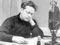 Dylan Thomas, Curly Hair, Sitting at Microphone of BBC, reading his poetry with passion