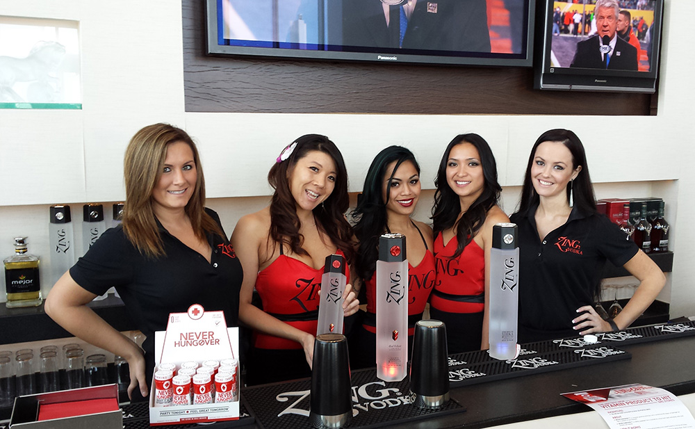 ZING Vodka Ladies at Bar, Never Hungover