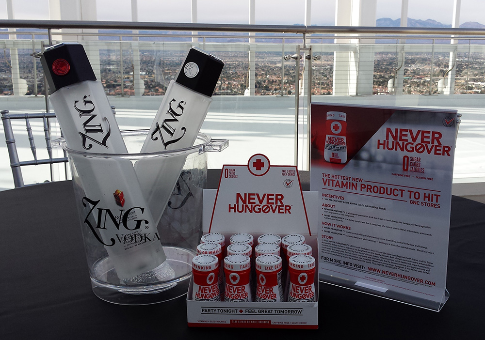 ZING Vodka paired with Never Hungover, Palms Place Rooftop Suite