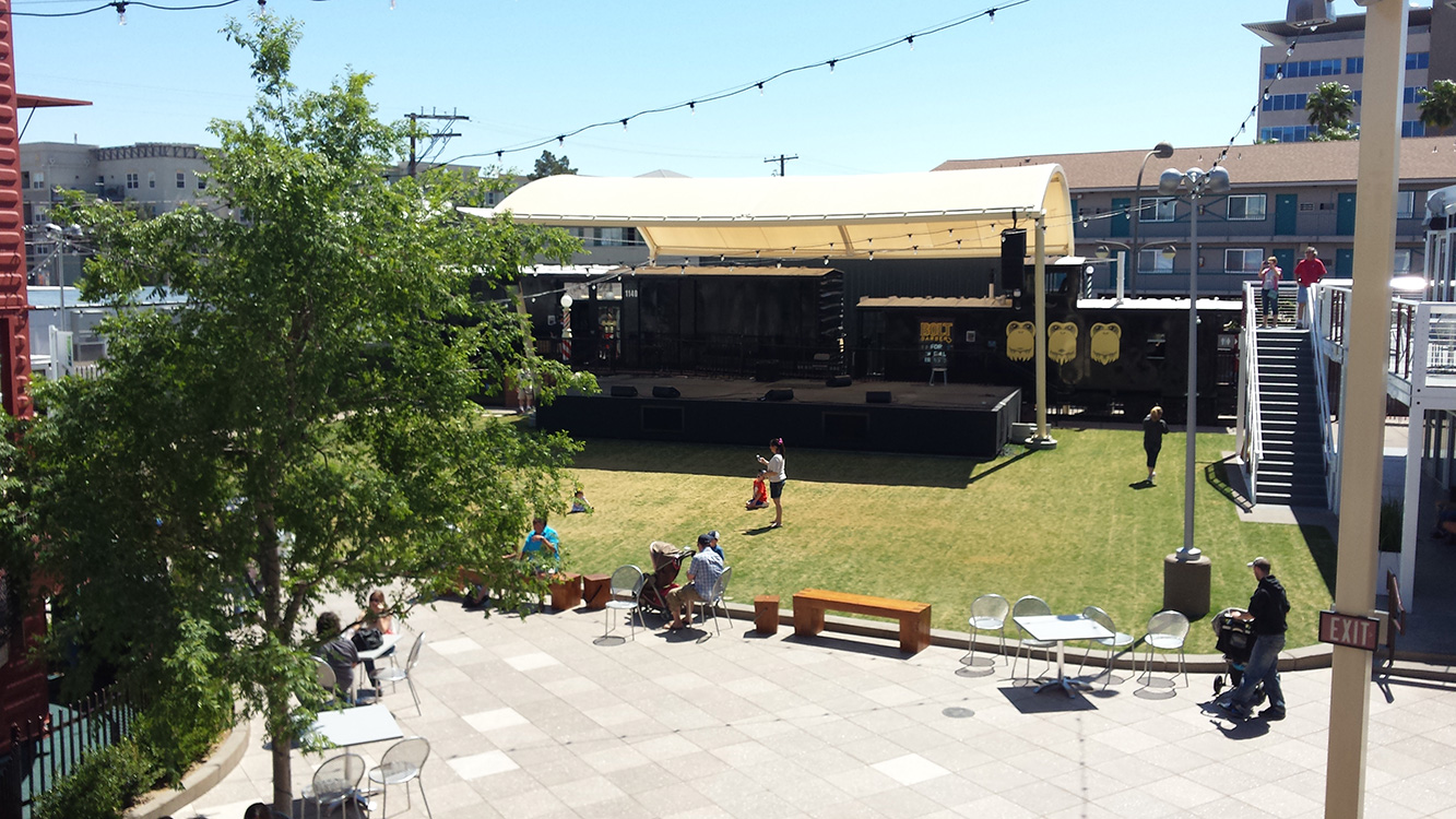 Music Stage and Grass Area, Container Park, Downtown Vegas