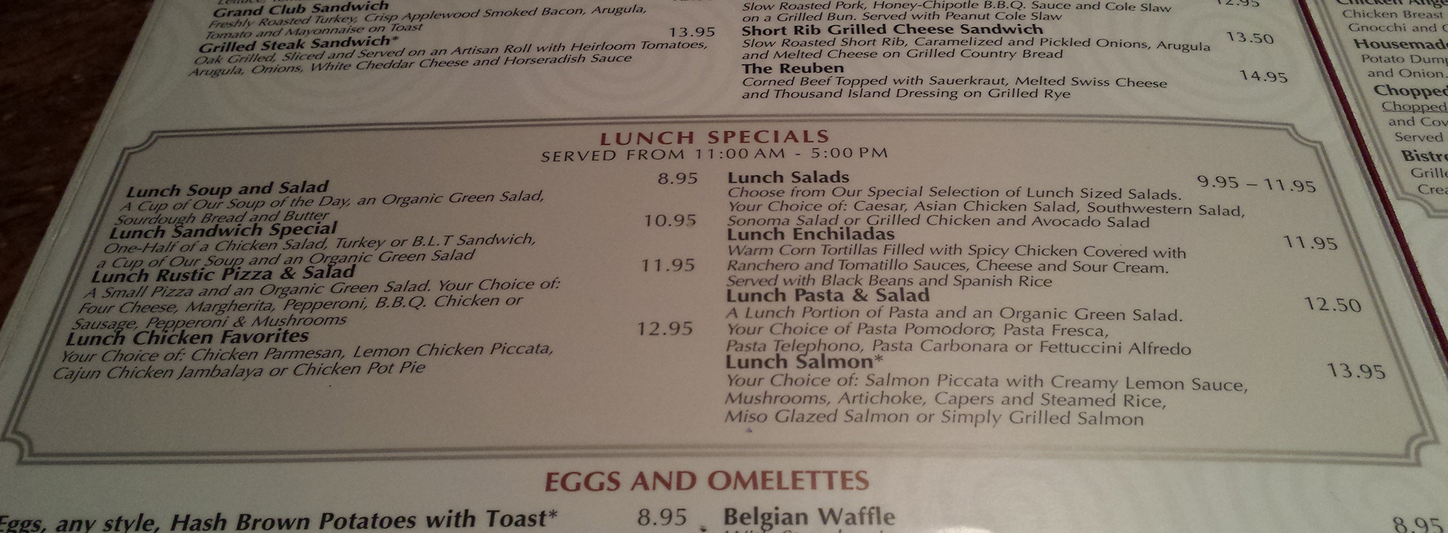 Lunch Specials, Grand Lux Cafe, Venetian Las Vegas
