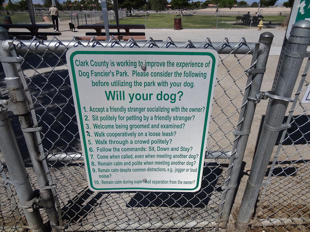 Dog Fanciers Park, Guidelines, Las Vegas