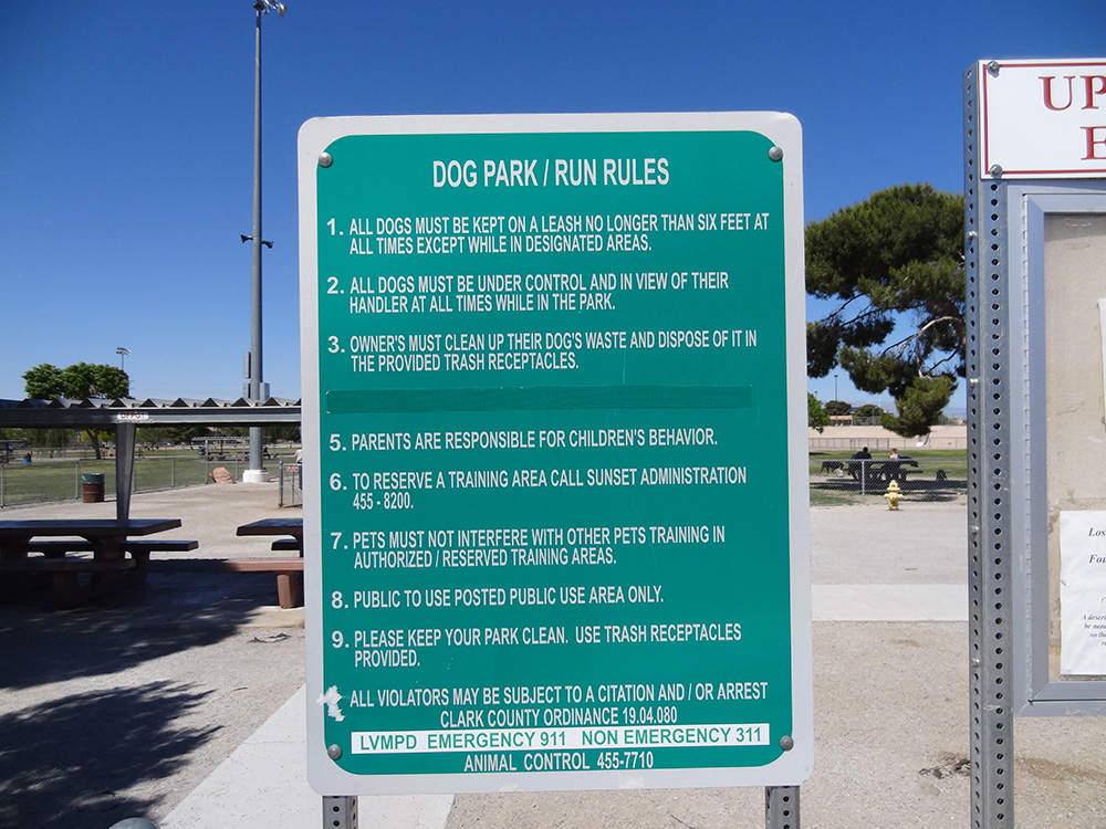 Dog Fanciers Park, Run Rules, Las Vegas Eastside