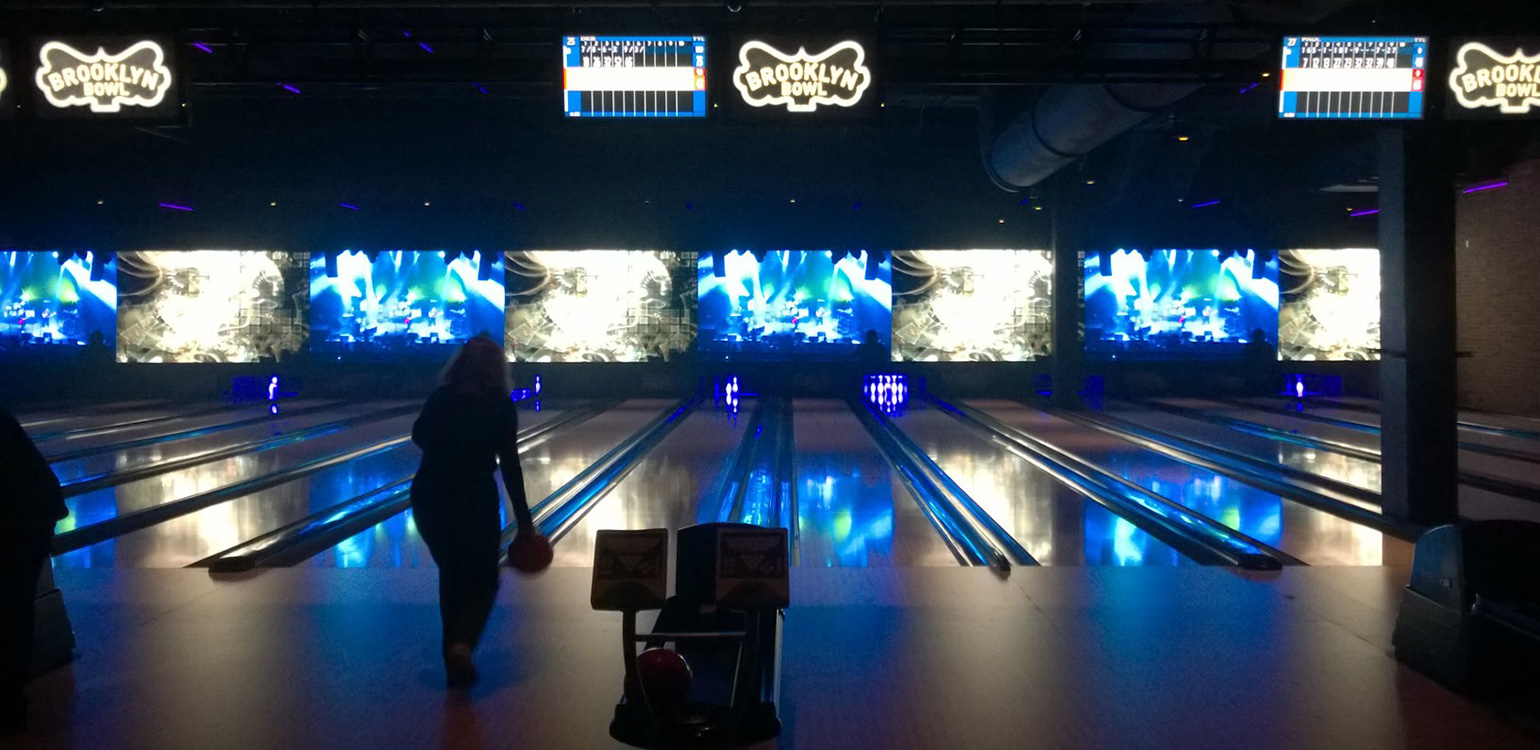 Bowling at Brooklyn Bowl, Lettuce on Big Screen, Las Vegas