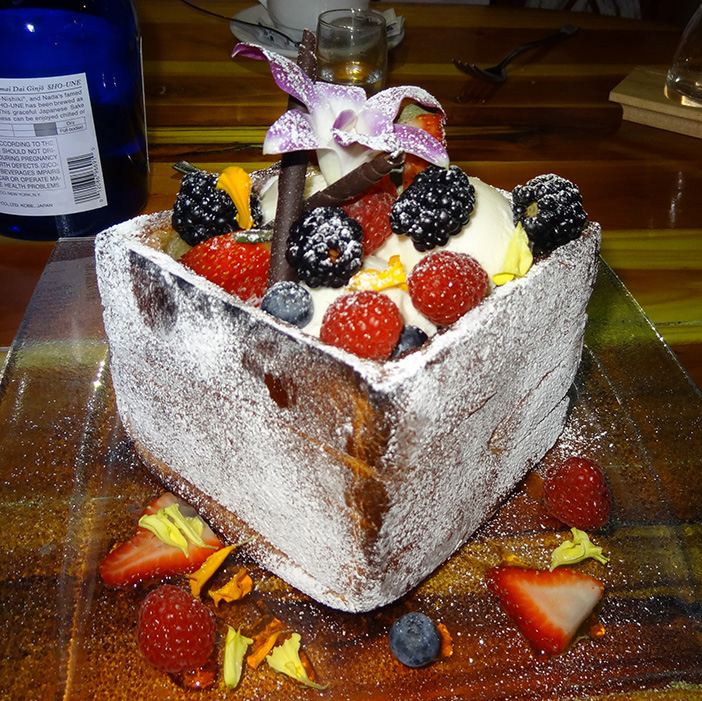 Honey Toast Fruit Chocolate Dessert, Geisha House Flamingo, Summerlin Vegas