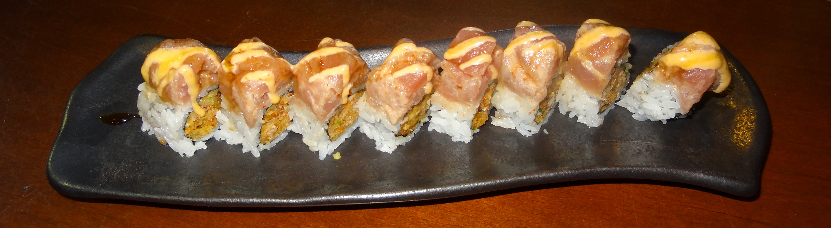 favorite — 808 Special Sushi Roll. Spicy soft shell crab mix, spicy ...