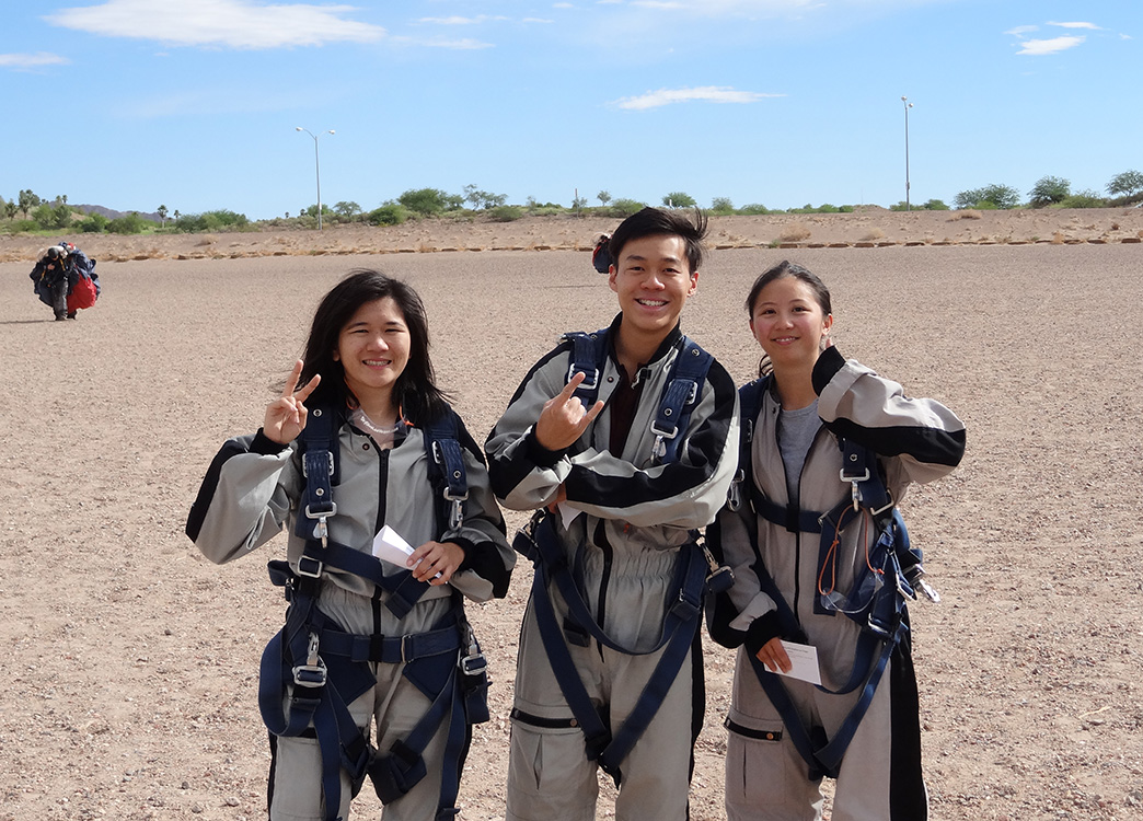 Happy Tandem Skydivers, Just Landed, Skydive Las Vegas
