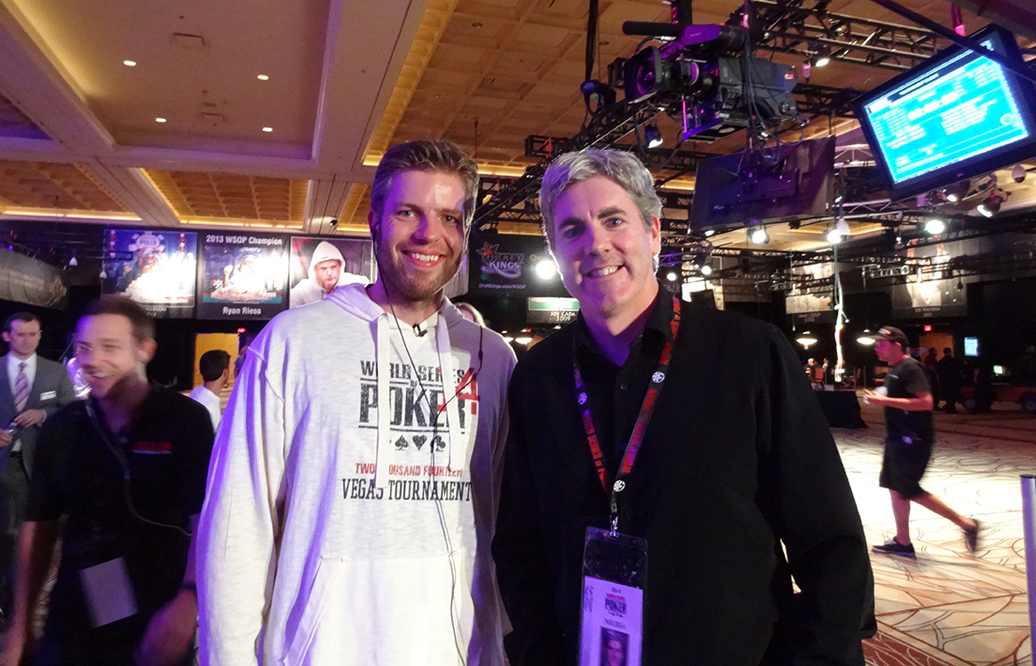 Jorryt van Hoof, Chip Leader for November Nine, with Brendan Magone, Founder of Las Vegas Top Picks; WSOP 2014