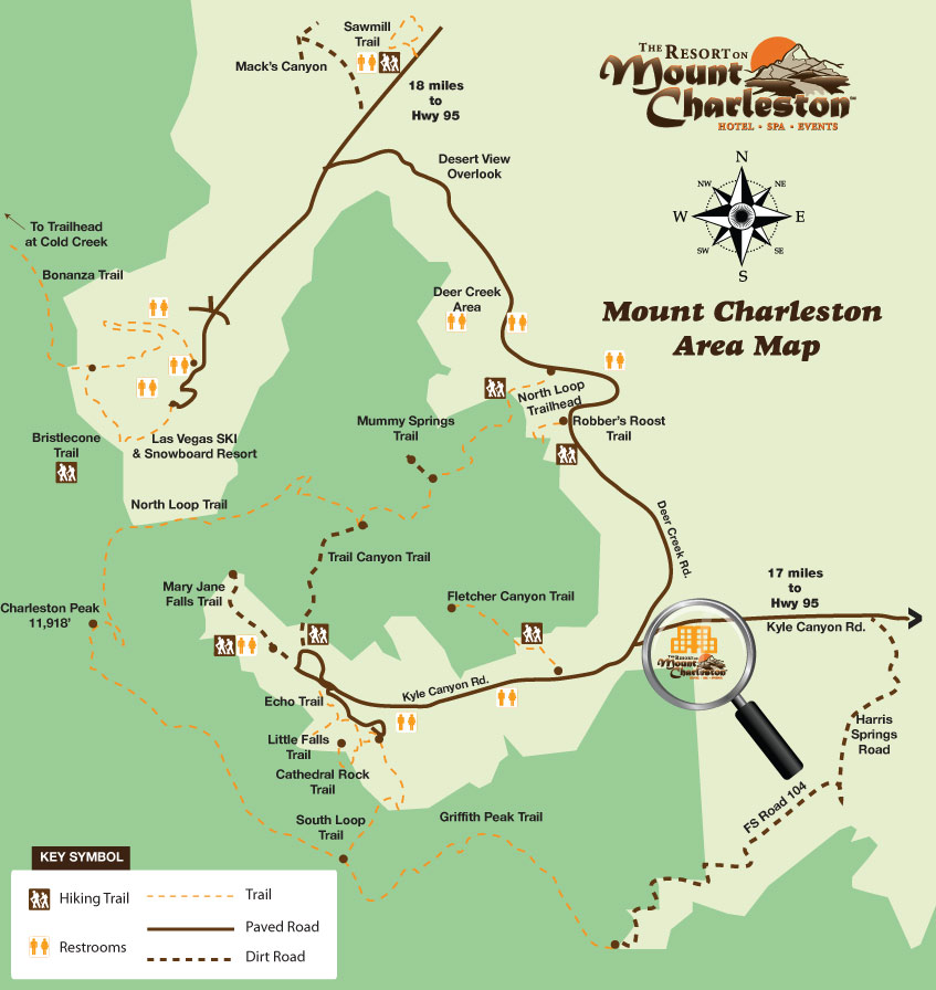 Mount Charleston Area Map, Near Las Vegas Nevada