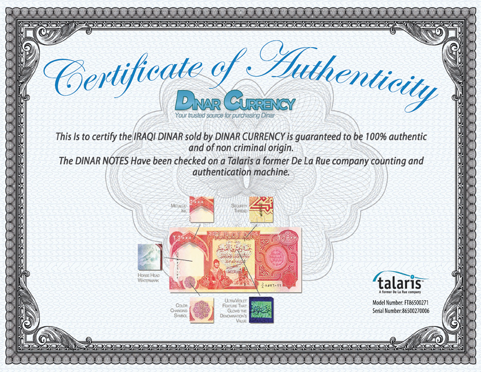 Certificate of Authenticity, Iraqi Dinar, Talaris