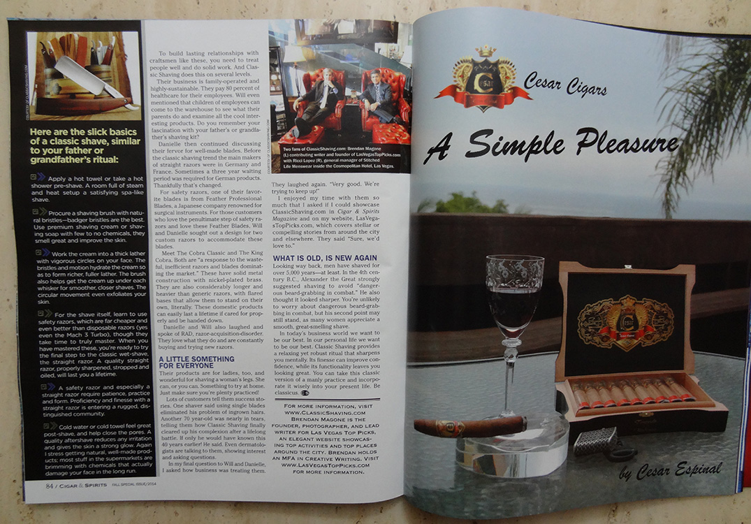 Cigar & Spirits Magazine, Classic Shaving Article, Writer Brendan Magone