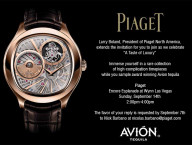 Invitation for Piaget Wynn Event, Avion Tasting
