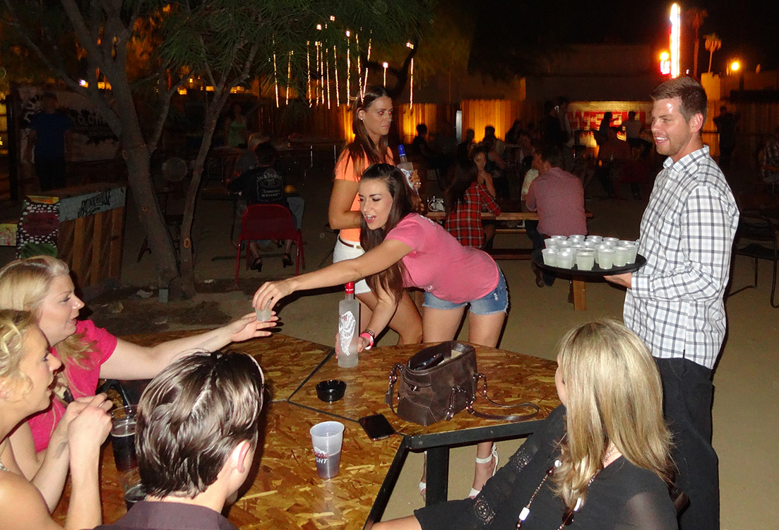 Andrea Serving at Bunkhouse Saloon, Downtown Las Vegas Reopening