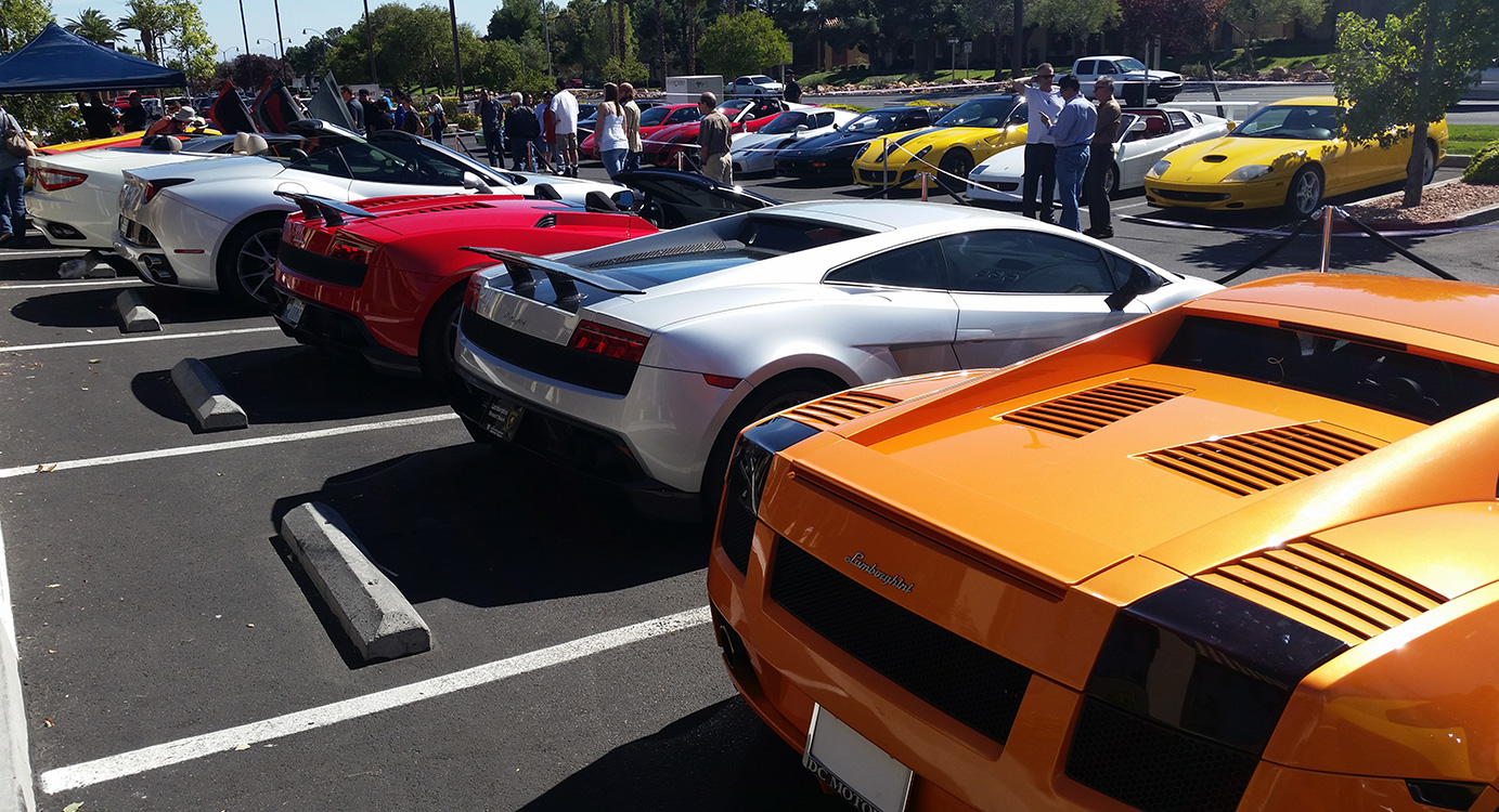 Lamborghinis & Ferraris, Siena Italian Restaurant, Sports Car Day, West Las Vegas