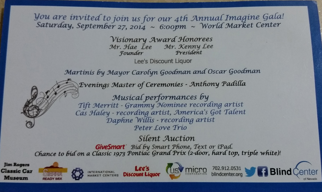 Ticket to 4th Annual Imagine Gala, Blind Center of Nevada, Las Vegas