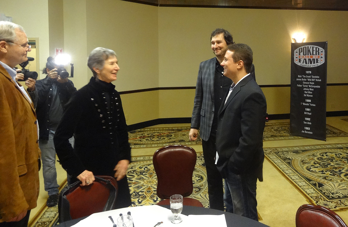 Phil-Hellmuth,-Bruno-Politano,-2014-Poker-Hall-of-Fame-Ceremony,-Binions-Las-Vegas