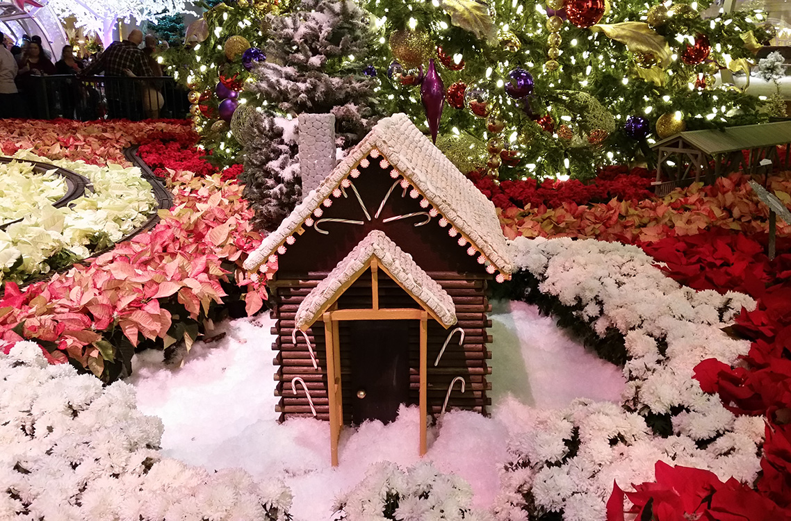 Candy-Cane-Cabin,-Bellagio-Conservatory,-Las-Vegas