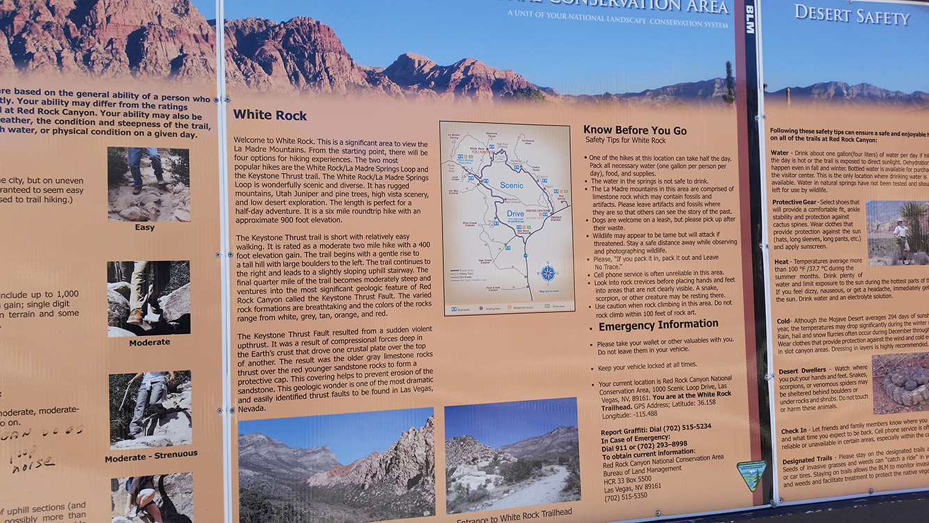 Detailed-White-Rock-Sign-Information,-Red-Rock-Canyon,-Las-Vegas