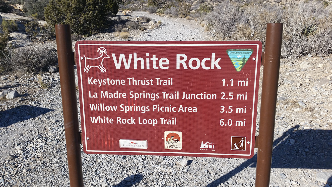White-Rock-Sign,-Keystone-Thrust-Trail,-Red-Rock-Vegas