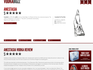 VodkaBuzz Gives AnestasiA Vodka 5 Stars