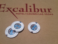 Excaliber Pokers Chips on Poker Table, Las Vegas