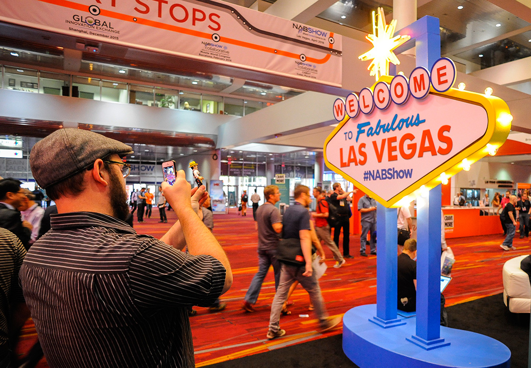 Selfie-of-Cartoon-Action-Figure,-NAB-Show,-Las-Vegas