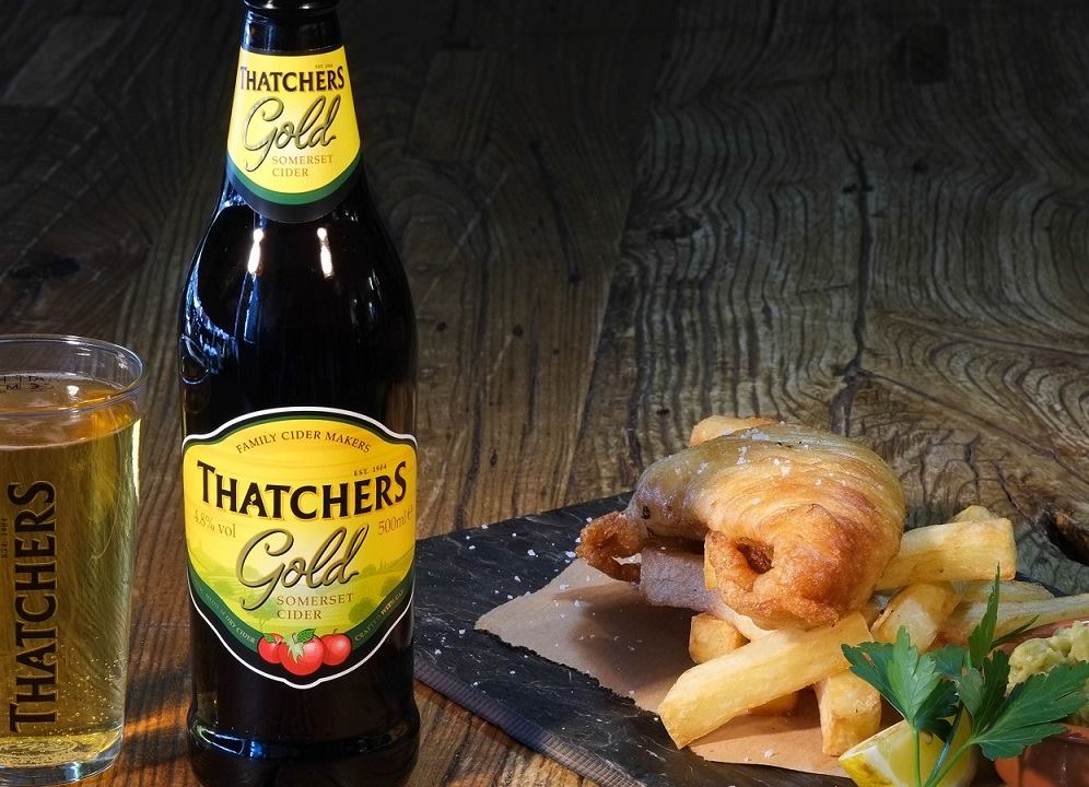Thatchers Gold with Fish & Chips
