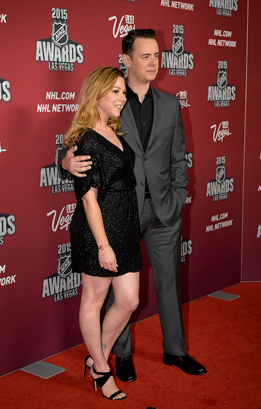 Actor-Colin-Hanks-and-wife-Samantha-Bryant,-2015-NHL-Awards,-MGM-Las-Vegas