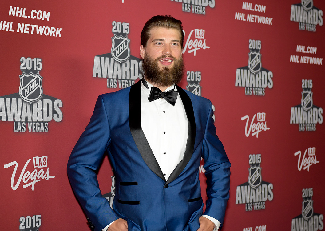 Brent-Burns-of-the-San-Jose-Sharks-on-the-red-carpet-at-the-NHL-awards,-2015-MGM-Las-Vegas