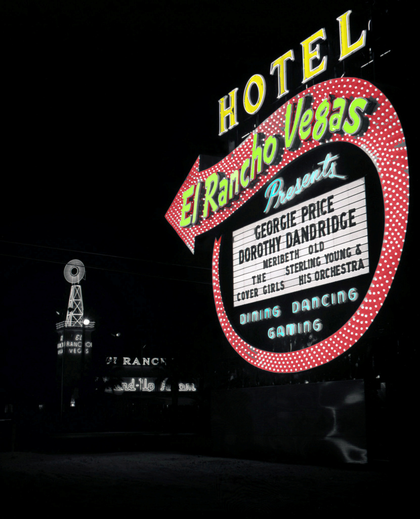 El Rancho at night, 1951, Las Vegas