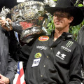 JB Mauney with Trophy, PBR Built Ford Tough World Championship, Las Vegas