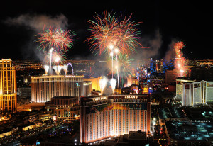 Fireworks over Las Vegas Strip, New Years Eve