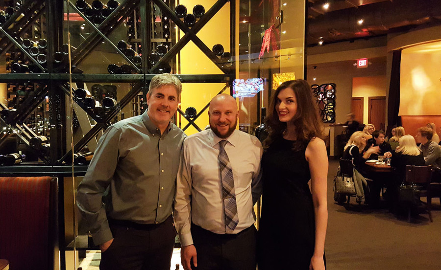 Left to right, Brendan Magone, CEO of Las Vegas Top Picks, Jason Talbott, General Manager & Executive Chef of Crave Restaurant, Victoria Kuznetsova, Executive Assistant & Model for Las Vegas Top Picks
