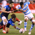 France's Pierre Gilles Lakafia Dives, USA Sevens Rugby Tournament, Las Vegas