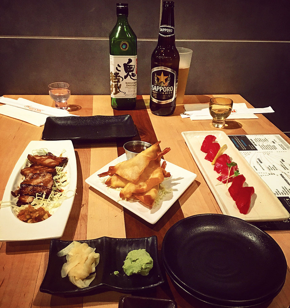 Delicious Dinner & Drinks, Sushi & Sake & Sapporo, Hanabi Sushi & Rolls, West Sahara Village Square in Las Vegas