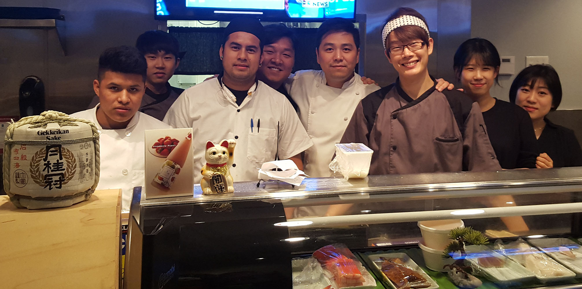 Owner Andy S. Kim and Team, Hanabi Sushi & Rolls, Village Square West Sahara, Las Vegas