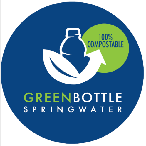 Green Bottle Spring Water, with 100 percent compostable water bottle, cap, and label