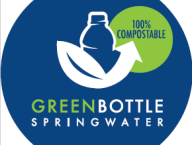 Green Bottle Spring Water, Compostable Cap, Bottle, and Label