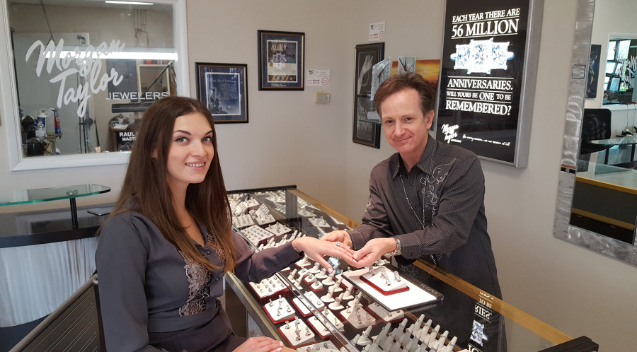 Customer Victoria Kuznetsova Magone at Morgan Taylor Jewelers with Owner Dan Golceker, West Las Vegas