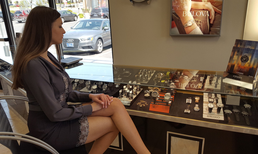 Victoria Kuznetsova Magone, Looking at Bulova Watches, Morgan Taylor Jewelers in West Las Vegas