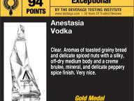 """AnestasiA Vodka Scores 94 BTI """"Exceptional"""""""